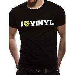 I Love Vinyl Graphic Print Mens Short Sleeve Gildan Cotton T-Shirt - New