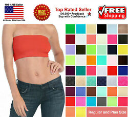 Basic Colors Stretch Strapless Layering TUBE TOP BRA Plain BANDEAU Underwear Tee $6.29