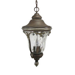 Golden Grain And Clear Hammered Glass Large Exterior Hanging Light