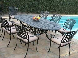 Cast Aluminum Patio Furniture 9 Pc Extension Oval Dining Table DS-09KLSS260180T