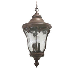 Gold Powder And Clear Hammered Glass Large Exterior Hanging Light