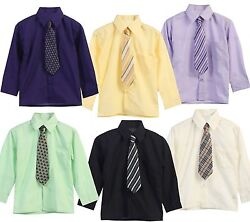 Boys Dress Shirt Long Sleeve Tie 15 Colors Solid Size 5 20 Big Boy New With Tags $12.95