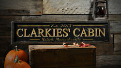 Custom Cabin Est Date City State Sign - Rustic Hand Made Vintage Wood ENS1000707