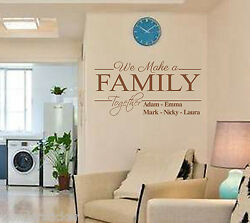 Personalized Name Wall Sticker We Make Family Together DIY Home Decor Wall Decal GBP 9.99