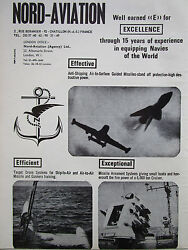 10 1968 PUB NORD AVIATION MISSILE TARGET DRONE SYSTEMS NAVIES MARINE ORIGINAL AD EUR 10.00