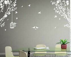 Large Side Wall Tree Sticker Birds and Cage Wall Art Vinyl Wall Decal Home Decor GBP 17.99