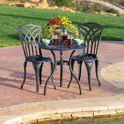 3 Piece Bistro Set Traditional Metal Garden Round Mesh Table Armless Chairs