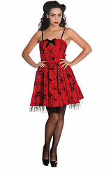 Hell Bunny Gothic Red Black Rockabilly 50#x27;s Spider Tulle Mary Jane Mini Dress