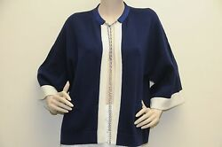 $2950 New Chanel Cashmere Navy Blue Ivory Chain JACKET COAT CARDIGAN 34 38