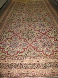 Antique Hand Knotted Wool Persian Lavar Kerman Shah Rug 10' x 21'