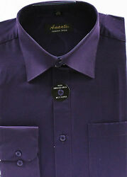 Mens Dress Shirt Plain Eggplant Modern Fit Wrinkle Free Cotton Blend Amanti $20.99