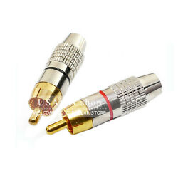 New Lot of 10 pcs Red  Gold Solder RCA Male Plug Audio Video Connector Adapter