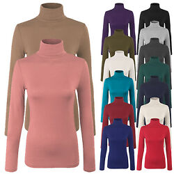 Women#x27;s Turtleneck Long Sleeve Basic Solid Fitted Shirt with Stretch SML $8.99