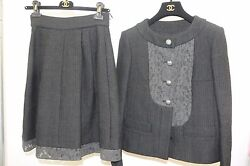 $8050 15P New CHANEL RUNWAY BLACK  Cotton Tweed  Lace Jacket + Skirt SUIT 36 38