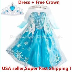 Kids Girls Dress Frozen Elsa Anna Party costume Princess Free Crown 2 10Y $16.98