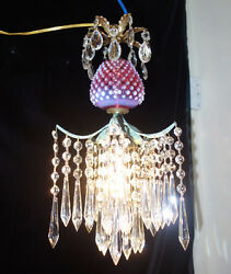 Lamp Chandelier Srawberry Crystal brass ceiling Vintage Fenton Cranberry Glass $257.00