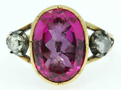 A Magnificent 7ct Oval Pink Topaz & Rose Cut Diamond Ring Circa 1800's