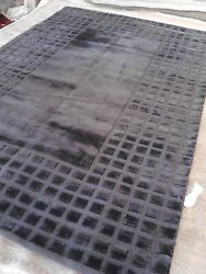 Modern Solid rug 10x14 wool woven Carpet Charcoal Grey Silky 14'x10' Textue New