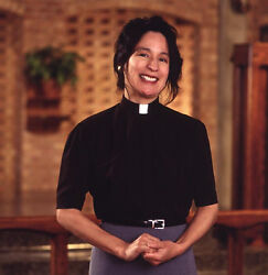 Women#x27;s Pastor Tab Collar Clergy Clerical Shirt Black Short Sleeves All Sizes $29.99