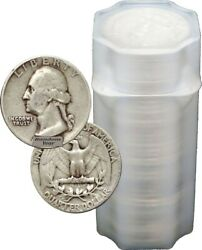 FULL DATES Roll Of 40 $10 Face Value 90% Silver Washington Quarters $222.06