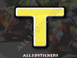 3D Stickers Resin Domed LETTER T - Color Yellow - 50 mm(2 inches) Adhesive Decal $5.30