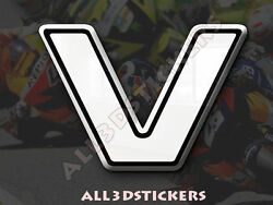 3D Stickers Resin Domed LETTER V - Color White - 100 mm(4 inches) Adhesive Decal $7.99