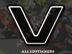 3D Stickers Resin Domed LETTER V - Color Black - 75 mm(3 inches) Adhesive Decal $6.75