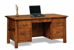 Amish Mission Computer File Desk Bow Top Solid Wood Artesa Office 65