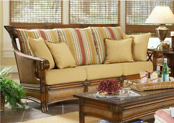 Pacifica Indoor Natural Rattan and Wicker Sofa by South Sea Rattan
