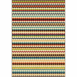 Multi Colored Modern Indoor Outdoor Rug Striped 5X8 Carpet #127683
