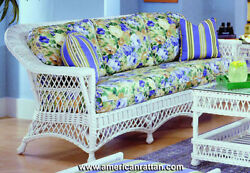 White Bar Harbor Indoor Rattan Wicker Sofa by Spice Island Wicker - Blue Cushion