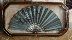 EARLY 20c FRENCH HAND PAINTED ORNATELY FRAMED IN SHADOW BOX FLOWERS ON SILK FAN