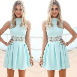Summer Women Lady Lace Sleeveless Cocktail Evening Party Beach Dress US STOCK $14.98
