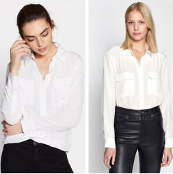 New Authentic Equipment SLIM Signature Silk Shirt $230 White Q23-E231
