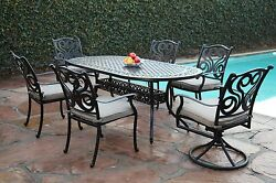 Outdoor Aluminum Patio Furniture 7 Piece Dining Set  with 2 Swivel Chairs CBM