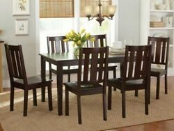 7 Pc Mocha Dining Room Set Wood Kitchen Furniture Table amp; 6 Chairs Dinette Sets $489.95