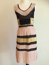 Gorgeous $5K Auth Fendi Runway Couture Beaded 100% Silk Pleated Dress IT3802