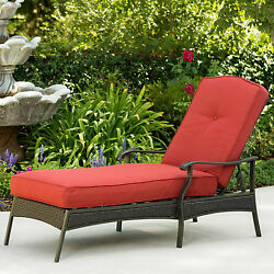 Chaise Lounge Chair Outdoor Yard Pool Patio Furniture Wicker Red Cushion Relaxer