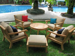5 PC TEAK WOOD GARDEN OUTDOOR PATIO SOFA SET - GIVA DEEP SEATER LOUNGE CHAIR