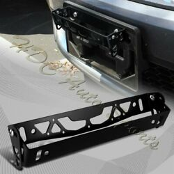 JDM Black Aluminum Bumper Adjustable Tilt License Plate Bracket Kit Universal 3