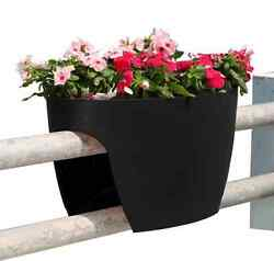 2-PACK Black Railing Rail Deck Garden Balcony Planter Plant Flower Pot Urn Decor