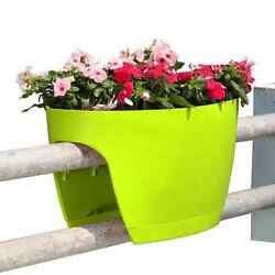 2-PACK Green Railing Rail Deck Garden Balcony Planter Plant Flower Pot Urn Decor