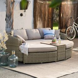 Outdoor Furniture Conversation Set 4 Pc Wicker Sectional Patio Pool Deck Seating
