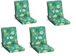Red Floral Patio Cushion Set of 4 Outdoor Chair Replacement Furniture YardGarden