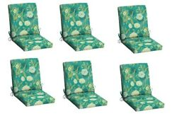 Red Floral Patio Cushion Set of 6 Outdoor Chair Replacement Furniture YardGarden