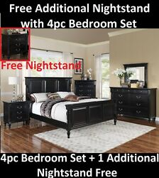Black Wooden Bedroom Furniture w1 Additional Nightstand Free 4pc Western K.Size