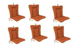 Burnt Orange Outdoor Patio Dining Replacement Chair Cushion Set of 6  Garden