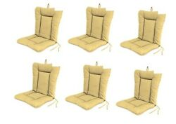 Beige Outdoor Patio Dining Replacement Chair Cushion Set of 6  Garden Pool P