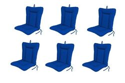 Blue Outdoor Patio Dining Replacement Chair Cushion Set of 6 Pool Pads Cushions