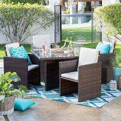 All-Weather Wicker Nested Patio Dining Set Table Chairs Outdoor Garden Furniture